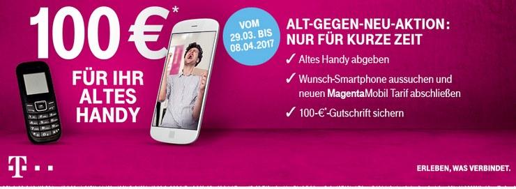 Die Aktion der Telekom Alt gegen Neu mit 100 Euro Gutschrift beim Althandy-Tausch wird am besten bei Handy-Resellern dargestellt