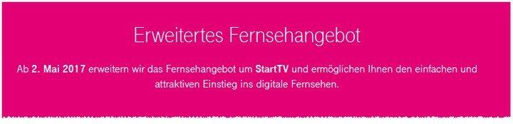 Telekom Start-TV ist ab dem 2.5.2017 erhältlich